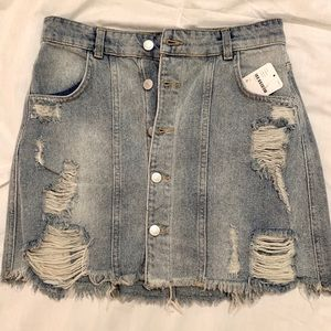 Free People Button-Up Denim Mini Skirt